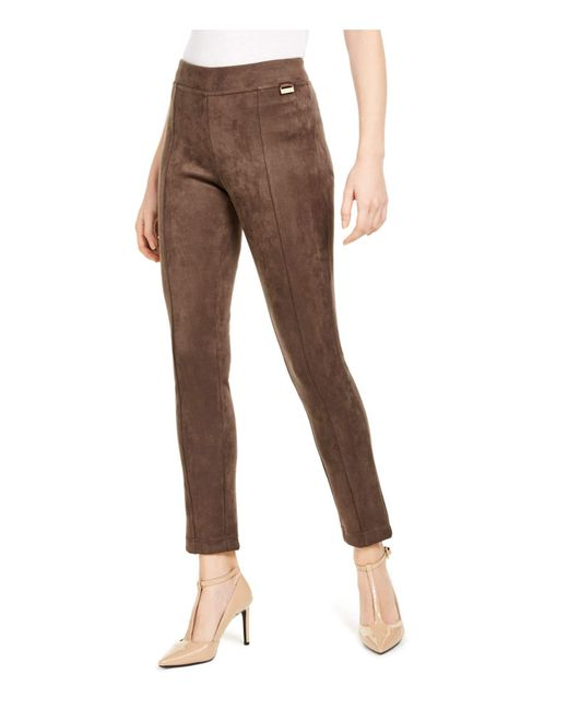 Calvin Klein S Brown Faux Suede Wear To Work Pants