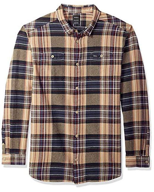 RVCA - Multicolor Ludlow Flannel Long Sleeve Woven Button Up Shirt for Men - Lyst