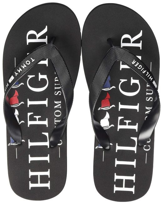 Nautical Print Beach Sandal Tommy Hilfiger pour homme en coloris Black