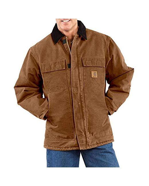 Carhartt Blue Arctic Quilt Lined Sandstone Traditional Coat C26 for men