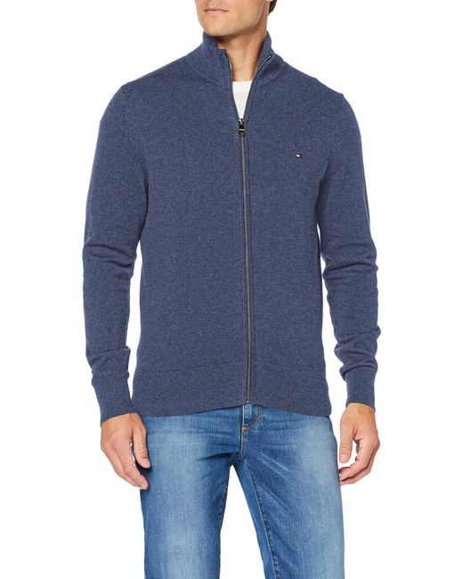 Pima Cotton Cashmere Zip Through Cardigan Tommy Hilfiger pour homme en coloris Blue