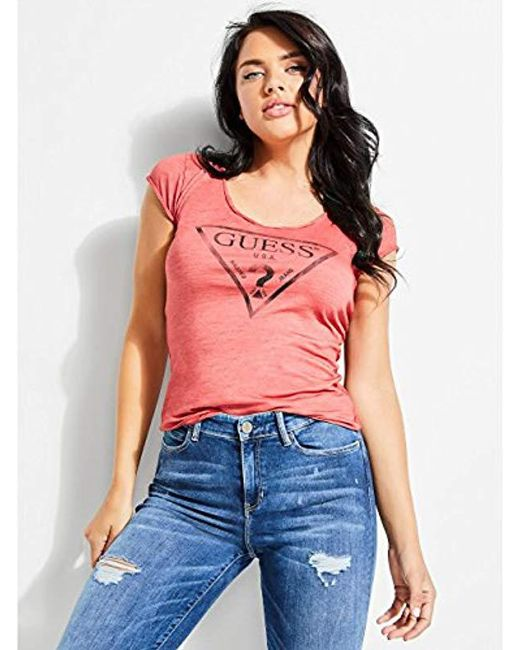 Guess - Red Short Sleeve Logo Vneck T-shirt - Lyst