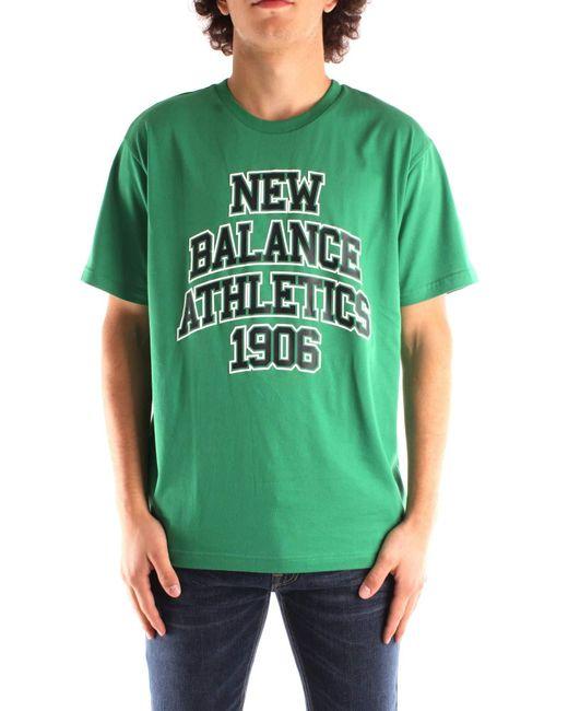 MT03518VGN T-Shirt Uomo Bianco XL di New Balance in Green da Uomo