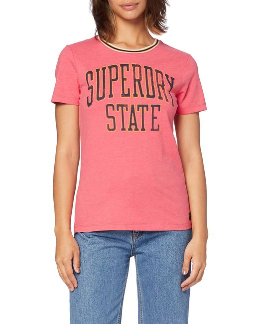 State Ringer Entry Tee T-Shirt Superdry en coloris Pink