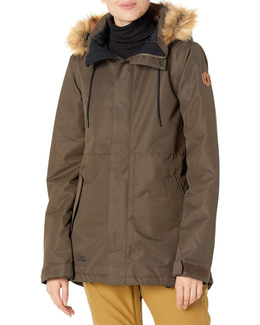 Volcom Green Fawn Insulated Snowboard Ski Winter Hooded Jacket