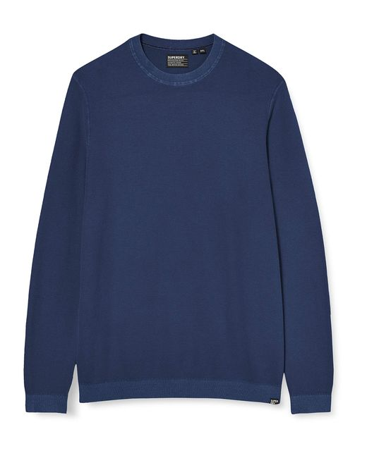 Superdry Blue Garment Dyed Textured Crew Long Sleeve Top for men