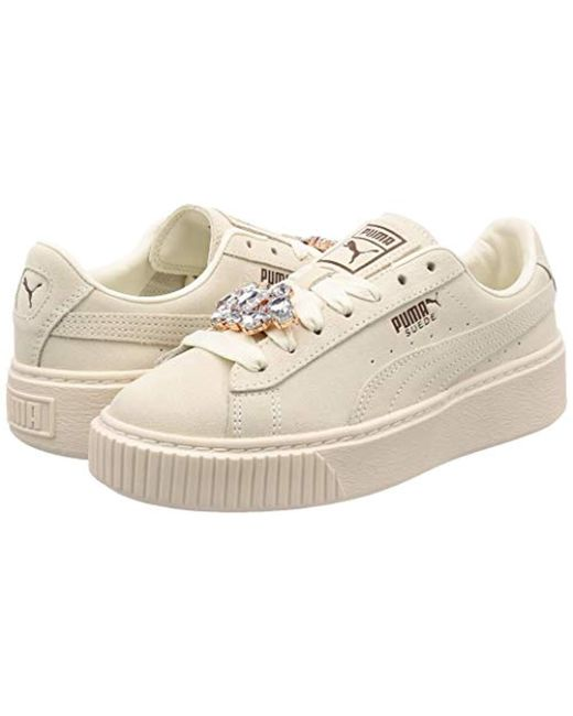 Women's White Suede Platform Gem Wn's Low-top Trainers