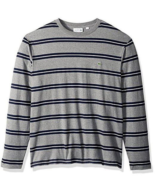Lacoste - Blue Long Sleevestriped Heavy Jersey Tee-with Chine Stripes for Men - Lyst