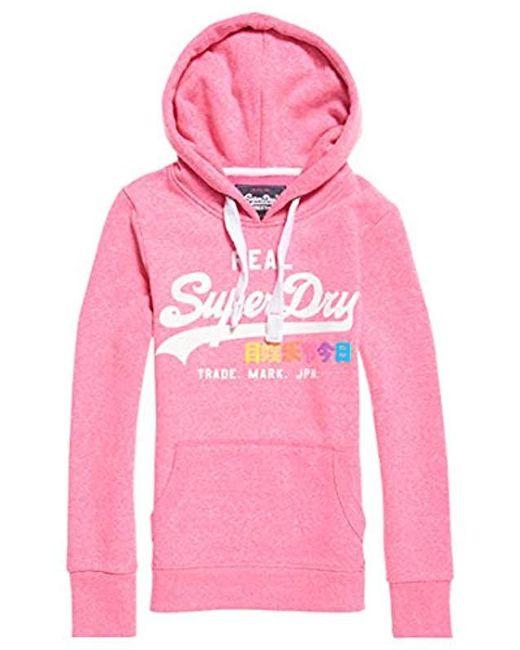 fbc59a36bb48 Superdry - Pink Vintage Logo Pop Entry Hood Sweat-Shirt À Capuche Femme -  Lyst ...