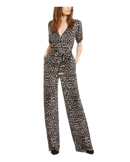 Michael Kors S Gray Pocketed Belted Button Leopard Print Short Sleeve V Neck Wide Leg Evening Jumpsuit Uk