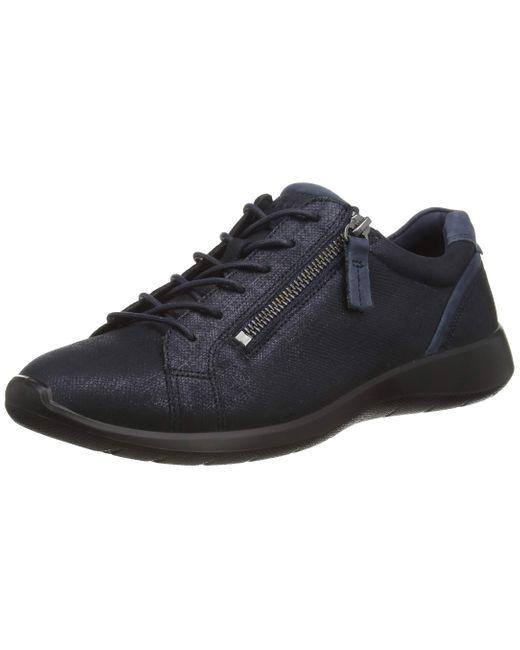 Ecco Soft 5 Side Zip Sneaker in Blue