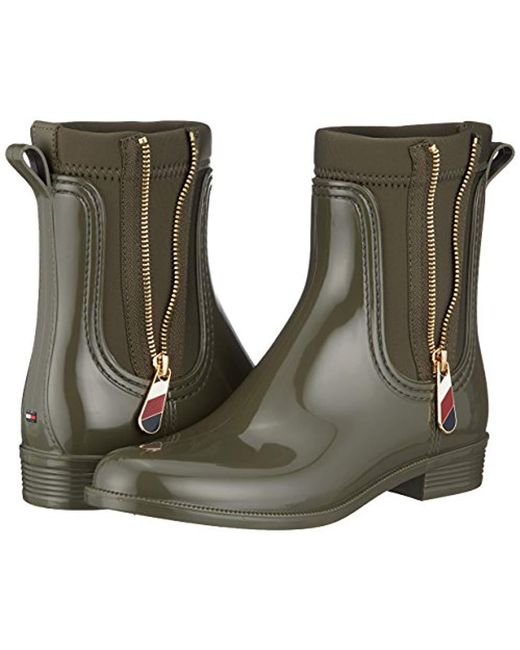 sale retailer 449e2 d6575 Tommy Hilfiger Material Mix Rain Boot Wellington in Green - Lyst
