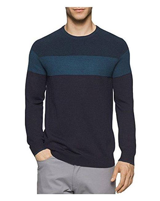 CALVIN KLEIN 205W39NYC - Blue Mens Knit Colorblock Pullover Sweater for Men - Lyst