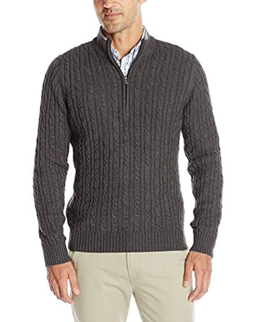 Izod - Gray Premium Essentials Cable Knit 1/4 Zip Sweater for Men - Lyst