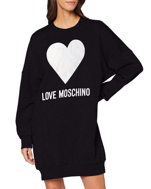 Long Sleeve Dress Love Moschino en coloris Black