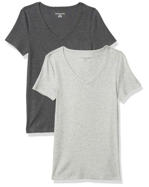 2-Pack Slim-fit Short-Sleeve V-Neck T-Shirt Camiseta Amazon Essentials de color Gray