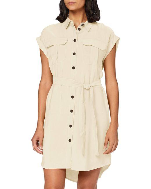 Vmvenus Wide S/l Short Shirt Dress Wvn Vestito di Vero Moda in Natural