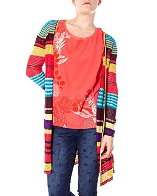 Desigual Red Jers_stripes Long Sleeve Pullover Sweater