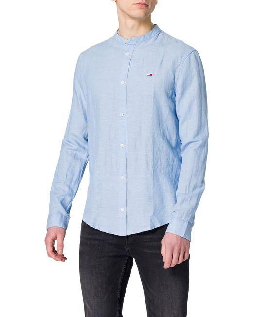 Tommy Hilfiger Blue Tjm Mao Linen Blend Shirt T for men