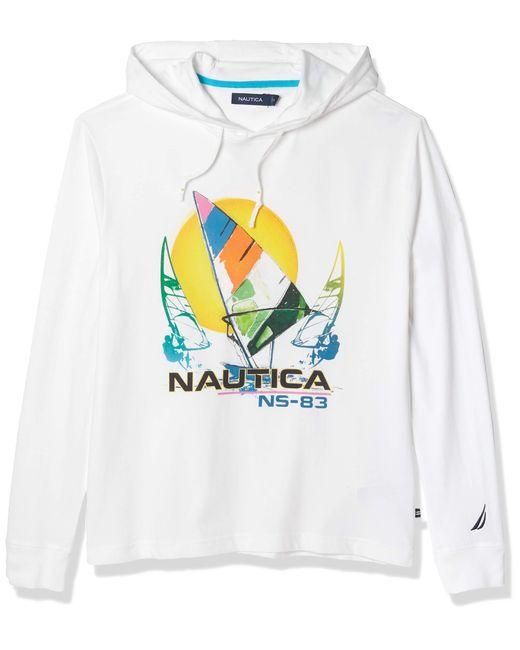 Nautica White Logo Print Hooded Top for men