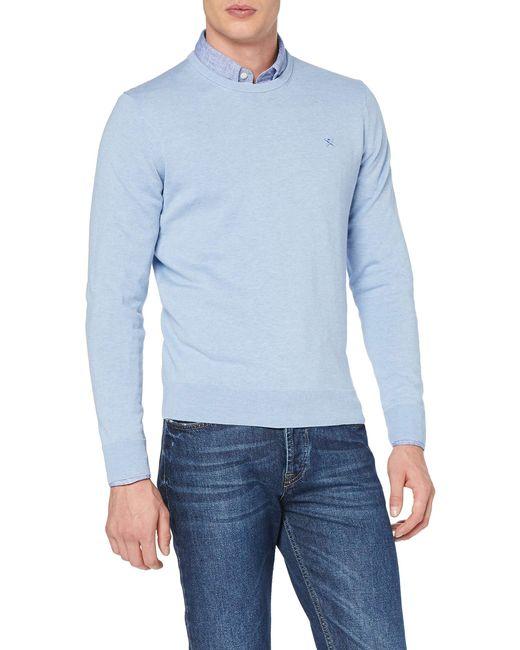 Hackett Blue Cotton Silk Crew Jumper for men