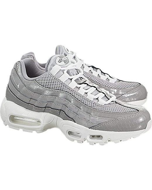 Nike Leather Wmns Air Max 95 Prm Trainers in Gray Lyst