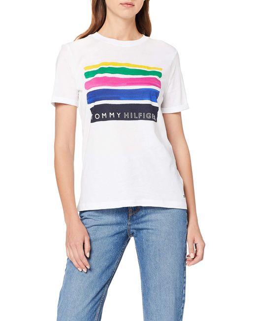 Tommy Hilfiger White Brooke C-nk Tee Ss T-shirt