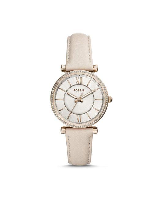 Carlie Winter a tre lancette con cinturino in pelle bianco per orologio da donna ES4465 di Fossil in White