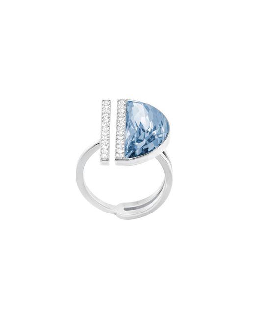 5294969 Glow Bague pour femme en acier inoxydable rhodié et cristal Bleu Taille 51 Swarovski en coloris Metallic