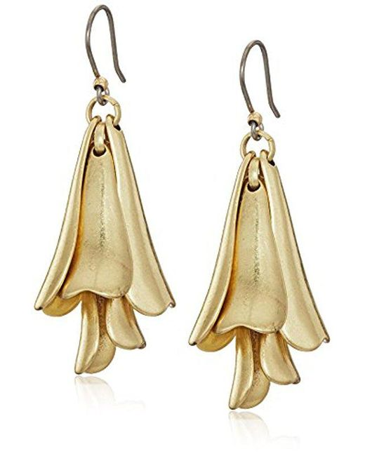 Lucky Brand - Metallic Petal Gold Drop Earrings - Lyst