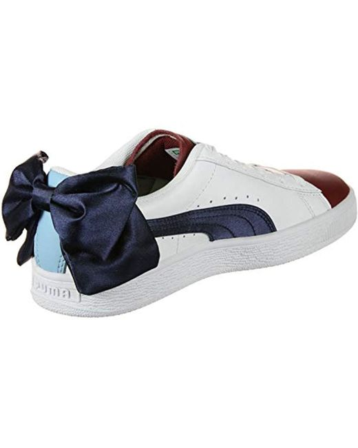 size 40 18379 ad70d Women's Basket Bow New School Trainers Cerulean- White-peacoat 3.5