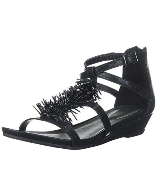 Kenneth Cole Reaction - Black Great Fringe T-strap Wedge Sandal - Lyst