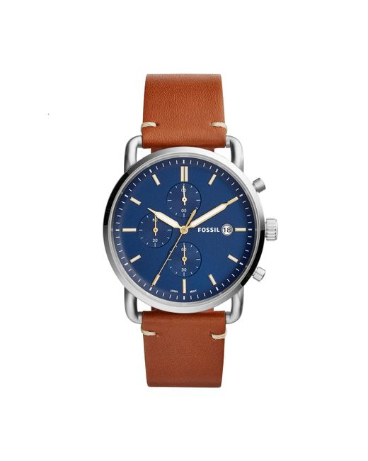Fossil Blue Analogue Quartz Watch With Leather Strap Fs5401 for men