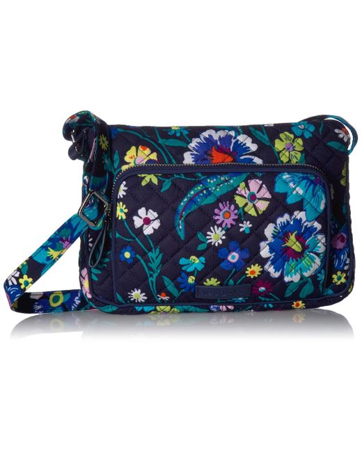 Vera Bradley Blue Signature Cotton Little Hipster Crossbody Purse With Rfid Protection