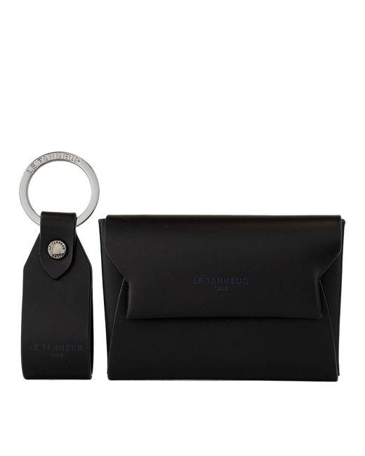 Coffret Cadeau : Porte Cartes et Porte clés Justin en Cuir Lisse Le Tanneur pour homme en coloris Black