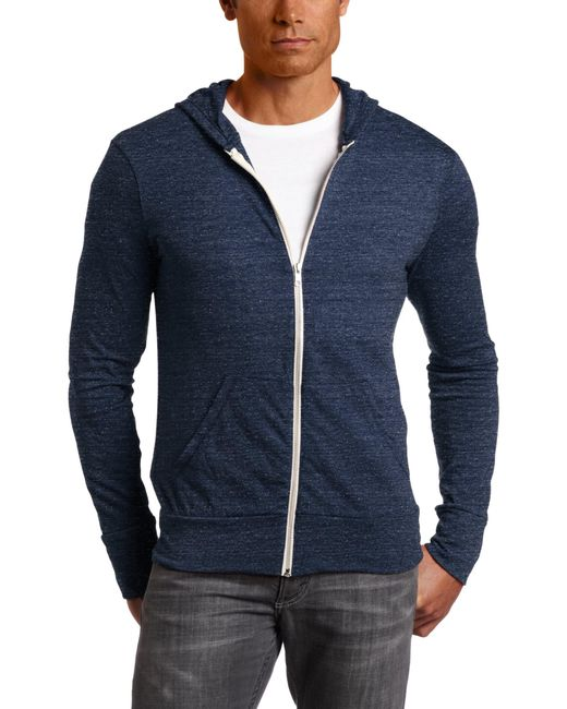 Alternative Apparel Blue Zip Hoodie Sweatshirt for men