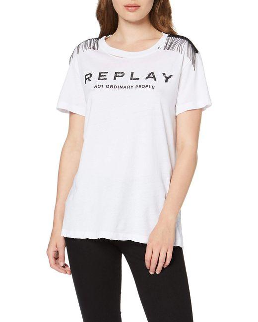 W3217b.000.22660 T-Shirt di Replay in White