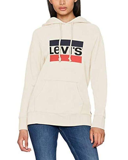 Levi's White Batwing Hoodie Plain Regular Fit Long Sleeve Hoodie
