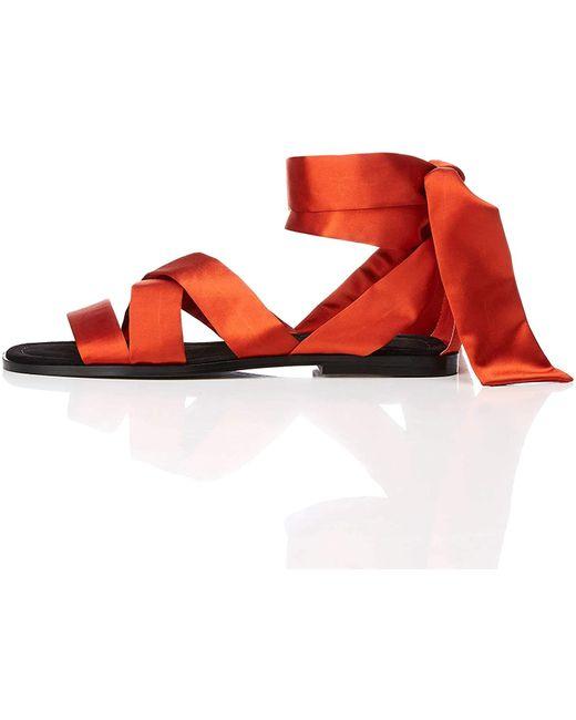 Satin Tie Up Sandalias con Punta Abierta FIND de color Red