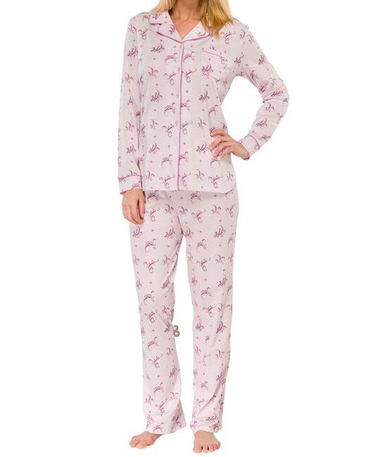 Schiesser Pink Langer Pyjama Schlafanzug Lang - 143839, Größe :50, Farbe:Flieder