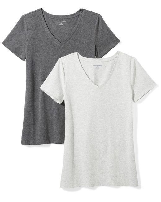 Camiseta de manga corta clásico con cuello en V Amazon Essentials de color Gray