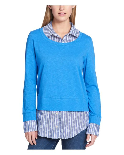 Tommy Hilfiger Blue Printed Long Sleeve Collared Top