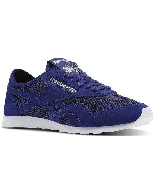Reebok Blue Classic Nylon Slim Mesh Sneaker Schuhe Blau/Weiss