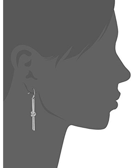 Kenneth Cole - Metallic S Silver Knot Stick Drop Earrings, Rhodium, One Size - Lyst