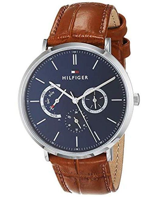 aca6d2bf8e21 Tommy Hilfiger - Blue Reloj Multiesfera para Hombre de Cuarzo con Correa en  Cuero 1710375 for ...