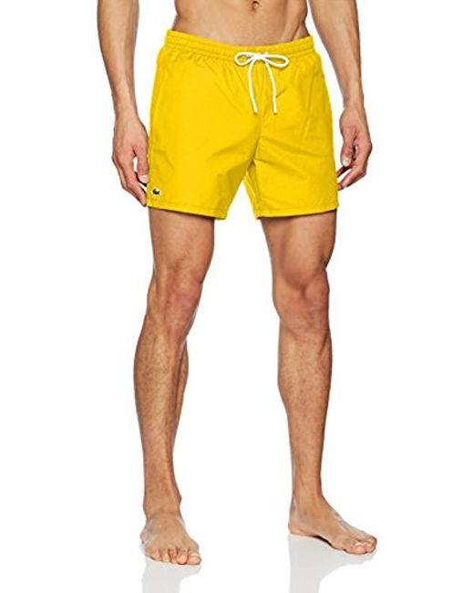 6ac2a2cc76 Lacoste - Yellow Swim Shorts for Men - Lyst ...
