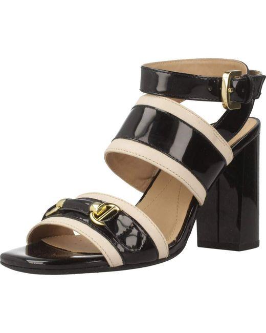 D Audalies High, Sandali con Cinturino alla Caviglia Donna, Nero (White/Black), 37 EU di Geox
