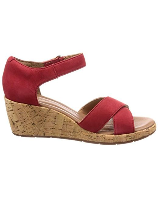 cc9ff9daa0cc Clarks  s Un Plaza Cross Ankle Strap Sandals in Red - Save 56% - Lyst
