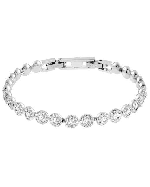 Swarovski Metallic Angelic Tennis Bracelet With White Crystals On A Rhodium Plated Setting