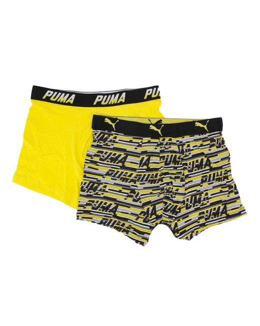 Boxer Logo AOP Boxer 2p PUMA pour homme en coloris Jaune - Lyst